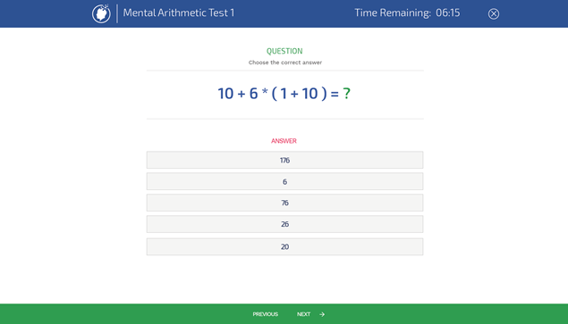 Mental Arithmetic Test Example